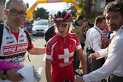 Jolanda Neff (Servetto Footon Cycling Team) stands behind the finish line, just seconds after finishing third in the Trofeo Alfredo Binda - a 123.3km road race from Gavirate to Cittiglio on March 20th 2016.