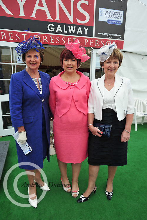 Mrs. Breda Ryan, Elizabeth Ryan, Margaret Ryan at the Anthony Ryan Best dressed Competition at Ladies day of the Galway Races in Ballybrit. Photo:Andrew Downes