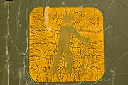 Peeling paint of hiker sign. Juniper Trail, Kootenay National Park, Radium Hot Springs, British Columbia, Canada.