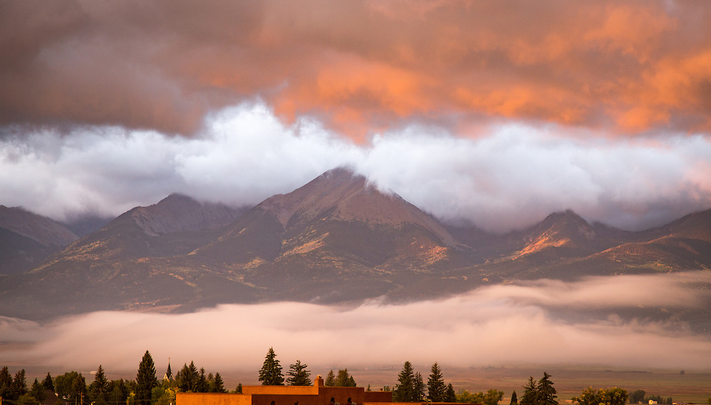 Clouds set up colorful sunrise at La Hacienda.