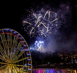Homecoming Hogmanay Fireworks sequence lit from Edinburgh Castle.<br /> Edinburgh's Hogmanay 2013.