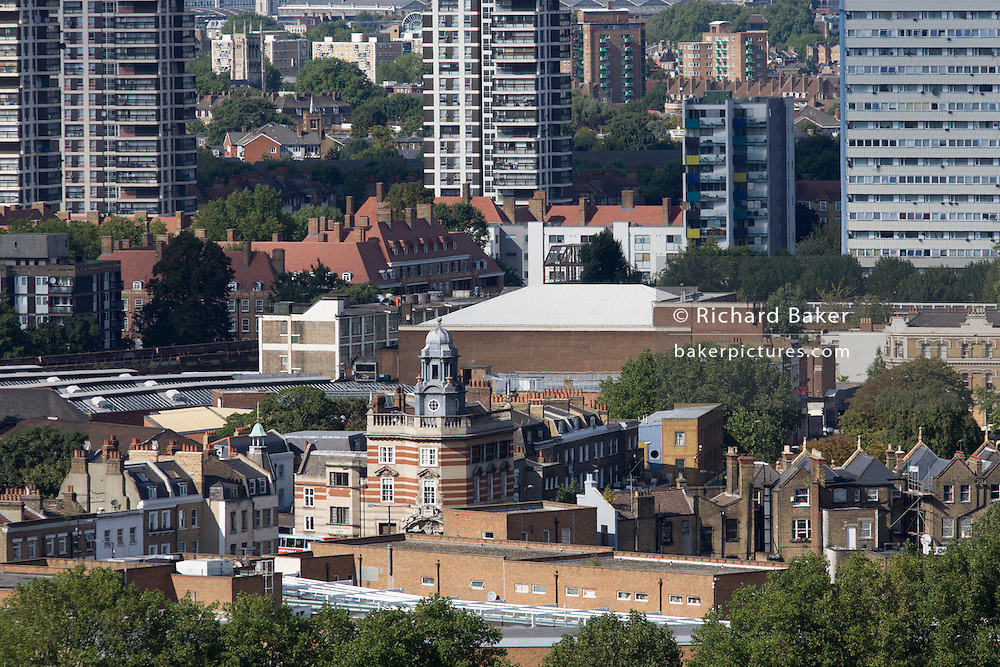 Aerial view of south London looking towards Victorian architecture of Camberwell Green and modern tower blocks.
