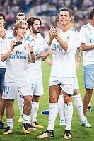Real Madrid's Luka Modric and Cristiano Ronaldo during XXXVIII Santiago Bernabeu Trophy at Santiago Bernabeu Stadium in Madrid, Spain August 23, 2017. (ALTERPHOTOS/Borja B.Hojas)