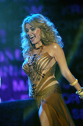 Opera singer Katherine Jenkins performs on stage..50,000 people filed into Murrayfield Stadium in Edinburgh, Scotland, on Wednesday July 6, 2005. The free gig, labelled Edinburgh 50,000 - The Final Push was the last of Bob Geldof's momentous Live 8 concerts..Pic ©2010 Michael Schofield. All Rights Reserved.