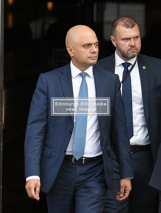 Chancellor of the Exchequer Sajid Javid leaves his hotel on day 2 of the Conservative Party conference in Manchester.<br /> <br /> © Dave Johnston / EEm
