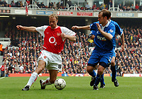 Picture: Henry Browne, Digitalsport<br /> NORWAY ONLY<br /> <br /> Date: 01/05/2004.<br /> Arsenal v Birmingham City FA Barclaycard Premiership.<br /> <br /> Dennis Bergkamp tries to go past City's Jamie Clapham.