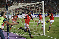 October 8, 2017 - Alexandria, Egypt - Egypt's Mohamed Salah Celebrating second goal during the 2018 World Cup group E qualifying soccer match at the Borg El Arab Stadium in Alexandria, Egypt, Sunday, Oct. 8, 2017. Egypt won 2-1. (Credit Image: © Islam Safwat/NurPhoto via ZUMA Press)