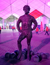 An England fan has apologised after being detained in Moscow for allegedly defacing the statue of a Russian football hero, Fyodor Cherenkov outside Spartak Stadium.