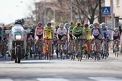 The pace picks up as the riders are approaching Km 0 of the Trofeo Alfredo Binda - a 123.3km road race from Gavirate to Cittiglio on March 20, 2016 in Varese, Italy.