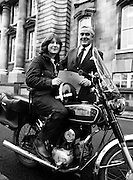 A new motorcycle messenger girl for GIS (Government Information Service) collecting a Government letter for delivery.<br /> 25 November 1981
