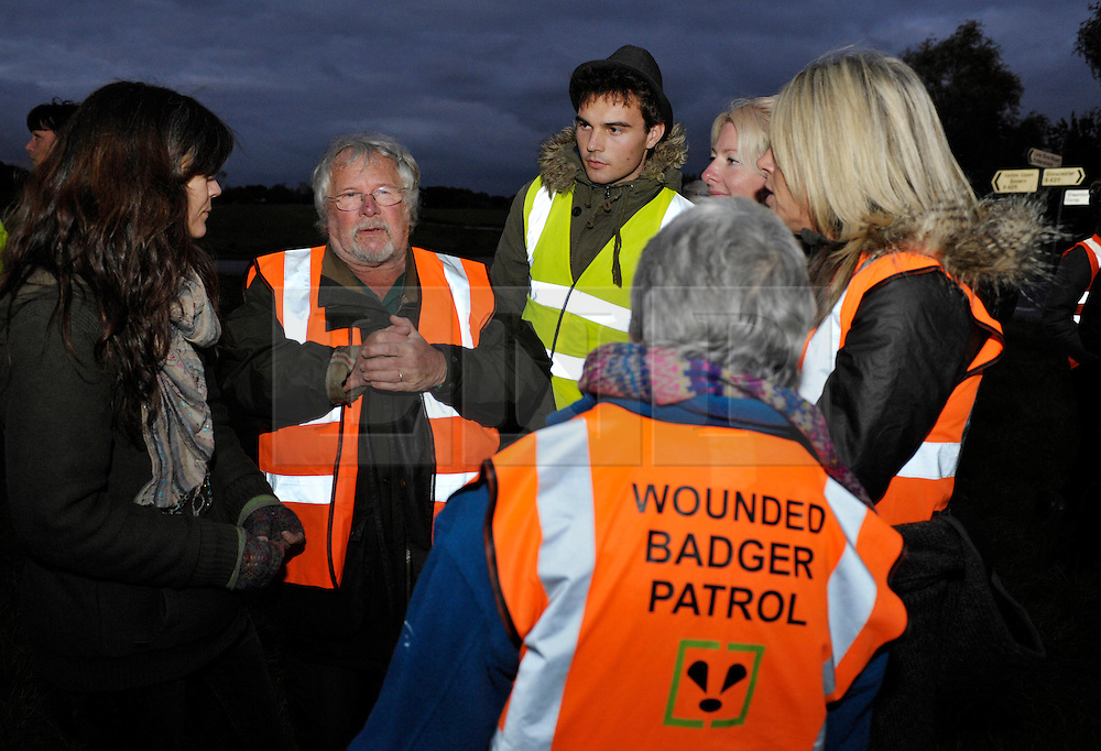 © Licensed to London News Pictures. 10/10/2013.  Corse Lawn, Gloucestershire, UK.  Billie Oddie visits the Wounded Badger Patrol in Gloucestershire, where patrollers go out looking for dead or wounded badgers on public footpaths and roads.  The Government has licensed a pilot badger cull in parts of Somerset and Gloucestershire as part of efforts to reduce bovine tuberculosis in cows on farms and is considering extending the cull as the targets for culled badgers have not been met.  10 October 2013.<br /> Photo credit : Simon Chapman/LNP