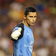 Orlando goalkeeper Miguel Gallardo during an International Friendly soccer match between English Premier League team Newcastle United and the Orlando City Lions of the United Soccer League, at the Florida Citrus Bowl on Saturday, July 23, 2011 in Orlando, Florida. Orlando won the match 1-0. (AP Photo/Alex Menendez)
