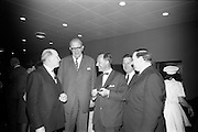 """25/03/1966<br /> 03/25/1966<br /> 25 March 1966<br /> Shock Symposium at UCD, Belfield, Dublin. The symposium on medical """"Shock"""" sponsored by Pharmacia International was held at the Department of Science at U.C.D.. Over 250 attended the symposium that was presided over by Prof. P. FitzGerald M.D., M.Ch., M.Sc F.R.C.S.I.. Picture shows (l-r): Prof. P. FitzGerald; The Swedish Ambassador H.E. Nils-Erik Ekblad who attended; one of the speakers Dr. V.F. Gruber, M.D. (Switzerland); Mr Don Douglas, Pharmacy International representative and Mr. P.E. Gravel, Managing Director, Goodbody Ltd. chatting at a reception after the event."""