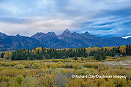 67545-09612 Fall color and Grand Teton Mountain Range from Blacktail Falls Overlook, Grand Teton National Park, WY