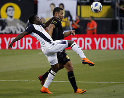 May 9, 2018 - Columbus, OH, USA - Columbus Crew SC midfielder Niko Hansen (28) is fouled by Philadelphia Union forward David Accam (7) at MAPFRE Stadium in Columbus, Ohio, on Wednesday, May 9, 2018. (Credit Image: © Kyle Robertson/TNS via ZUMA Wire)