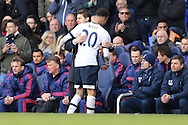 Mauricio Pochettino, the Tottenham Hotspur manager hugs Dele Alli of Tottenham Hotspur as the Spurs player is subbed off. Barclays Premier league match, Tottenham Hotspur v Manchester Utd at White Hart Lane in London on Sunday 10th April 2016.<br /> pic by John Patrick Fletcher, Andrew Orchard sports photography.
