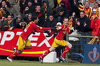 FOOTBALL - FRENCH CHAMPIONSHIP 2009/2010 - L1 - RC LENS v PARIS SAINT GERMAIN - 6/03/2010 - PHOTO CHRISTOPHE ELISE / DPPI - SEBASTIEN ROUDET (LENS), ISSAM JEMAA (LENS)