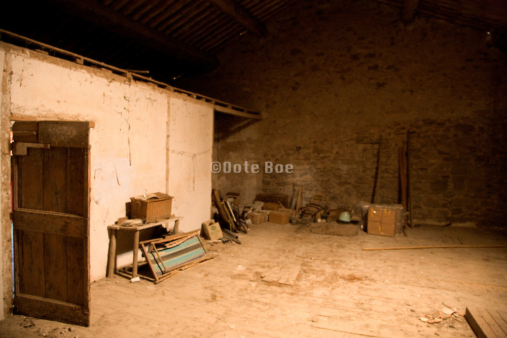 empty large space in attic of house used as barn