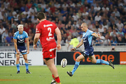 Ruan Pienaar of Montpellier and Mickael Ivaldi of Lyon during the French championship Top 14 Rugby Union semi-final match between Montpellier v Lyon OU on May 25, 2018 at Groupama stadium in Lyon, France - Photo Romain Biard / Isports / ProSportsImages / DPPI