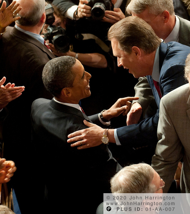 President Obama greets members of Congress prior to giving an address to a joint session of Congress to promote his health care reform agenda, Wednesday, September 9, 2009 at the US Capitol.