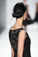 Lina Zhang walks down runway for F2012 Tadashi Shoji's collection in Mercedes Benz fashion week in New York on Feb 9, 2012 NYC