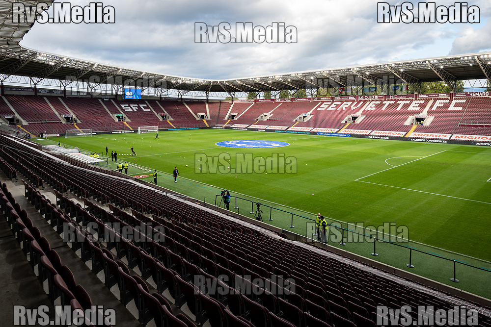 GENEVA, SWITZERLAND - OCTOBER 06: A view of the Stade de Geneve before the UEFA Women's Champions League group A match between Servette FCCF and Juventus at Stade de Geneve on October 6, 2021 in Geneva, Switzerland. (Photo by Basile Barbey/RvS.Media)