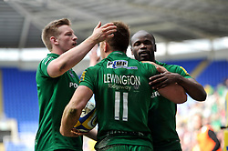 Alex Lewington of London Irish is congratulated on his try - Photo mandatory by-line: Patrick Khachfe/JMP - Mobile: 07966 386802 12/04/2015 - SPORT - RUGBY UNION - Reading - Madejski Stadium - London Irish v Sale Sharks - Aviva Premiership