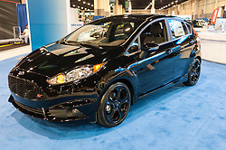 CHARLOTTE, NC, USA - November 11, 2015: Ford Fiesta ST on display during the 2015 Charlotte International Auto Show at the Charlotte Convention Center in downtown Charlotte.