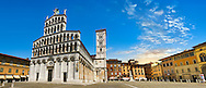10th century San Michele in Foro is a Roman Catholic basilica church in Lucca, facade 13h century Romanesque , Tunscany, Italy .<br /> <br /> Visit our ITALY PHOTO COLLECTION for more   photos of Italy to download or buy as prints https://funkystock.photoshelter.com/gallery-collection/2b-Pictures-Images-of-Italy-Photos-of-Italian-Historic-Landmark-Sites/C0000qxA2zGFjd_k<br /> <br /> If you prefer to buy from our ALAMY PHOTO LIBRARY  Collection visit : https://www.alamy.com/portfolio/paul-williams-funkystock/lucca.html .