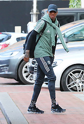 The Manchester United team arrive at The Lowry Hotel on Saturday evening to prepare for their home game against West Brom on Sunday afternoon. Seen: Ashley Young.