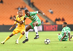 Johannesburg. Gauteng. Kaizer Chiefs player Joseph Molangoane and Bloemfontein Celtic player Roland Pfumbidzai clash during the ABSA premiership at FNB Stadium.<br />