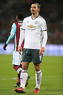 Zlatan Ibrahimovic of Manchester United looking on. Premier league match, West Ham Utd v Manchester Utd at the London Stadium, Queen Elizabeth Olympic Park in London on Monday 2nd January 2017.<br /> pic by John Patrick Fletcher, Andrew Orchard sports photography.