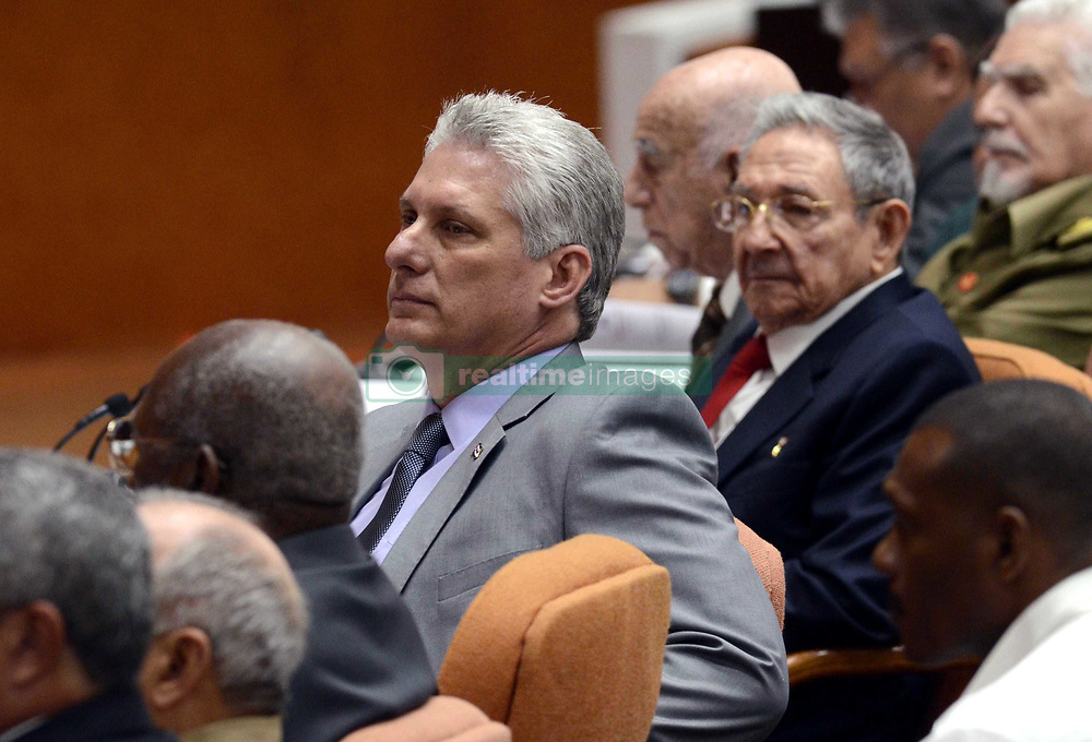 HAVANA, April 18, 2018  Cuban First Vice President Miguel Diaz-Canel (C) attends a session of Cuba's National Assembly of People's Power, in Havana, Cuba, April 18, 2018. Cuba's National Assembly of People's Power began a two-day session on Wednesday morning to elect a successor to President Raul Castro. (Credit Image: © Joaquin Hernandez/Xinhua via ZUMA Wire)