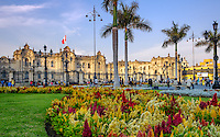LIMA, PERU - CIRCA APRIL 2014: View of the Government Palace from the Plaza Mayor in the Lima Historic Centre in Peru