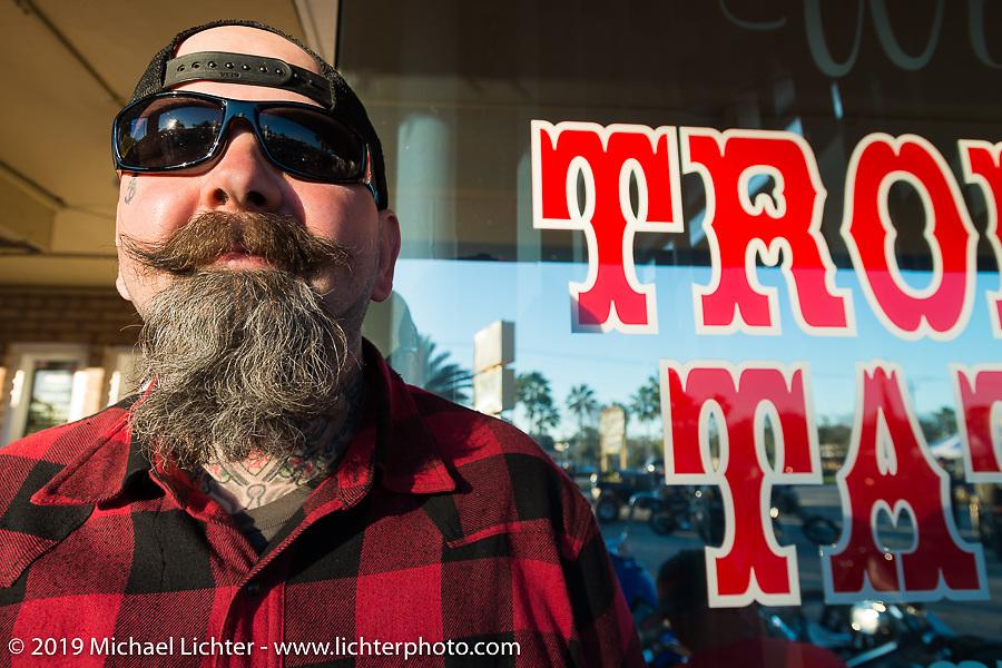 Daren McKeag at Willie's Tropical Tattoo annual Old School Bike Show during Daytona Bike Week. FL, USA. March 13, 2014.  Photography ©2014 Michael Lichter.