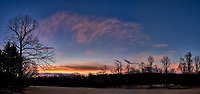 Winter Backyard Dawn Sky in New Jersey. Composite of 8 images taken with a Fuji X-T1 camera and 16 mm f/1.4 lens (ISO 200, 16 mm, f/8, 1/60 sec). Raw images processed with Capture One Pro and the composite generated using AutoPano Giga Pro.