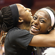 Sisters Chiney Ogwumike, (right), Connecticut Sun and Nneka Ogwumike, Los Angeles Sparks before playing against each other for the fist time in the WNBA during the Connecticut Sun Vs Los Angeles Sparks WNBA regular season game at Mohegan Sun Arena, Uncasville, Connecticut, USA. 3rd July 2014. Photo Tim Clayton
