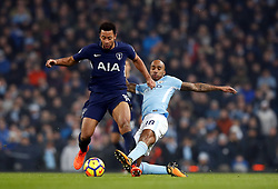 Tottenham Hotspur's Mousa Dembele (left) and Manchester City's Fabian Delph battle for the ball during the Premier League match at the Etihad Stadium, Manchester.