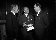 09/06/1967<br /> 06/09/1967<br /> 09 June 1967<br /> Hannover Chamber of Commerce members meet Mr. George Colley. A group from the Hannover (Germany) Chamber of Commerce were in Ireland on a study tour of the Industrial possibilities in this country. The group with members of the Industrial Development Authority were received by Mr. George Colley T.D., Minister for Industry and Commerce in the Council Chamber at the Department of Industry and Commerce, Kildare Street Dublin. Pictured are at the meeting are: Mr. T.S. O'Neill, member of the Industrial Development Authority; Herr Franz Thiemann, Vice President of the Hannover Chamber of Commerce and Mr George Colley T.D., Minister for Industry and Commerce.