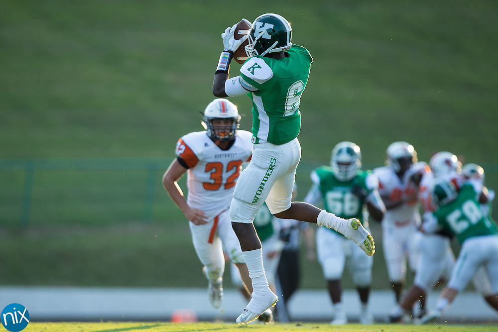 Brandon Dry (6) of the A.L. Brown Wonders catches a pass during first half action against the Northwest Cabarrus Trojans at A.L. Brown High School on September 5, 2016 in Kannapolis, North Carolina.  The Wonders defeated the Trojans 48-0.  (Brian Westerholt/Special to the Tribune)