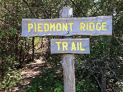 Piedmont Ridge Trail sign, Great Trinity Forest, Dallas, Texas, USA