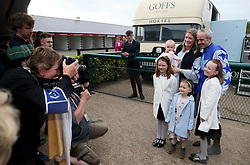 Ruby Walsh, with wife Gillian and daughters Isabelle, Gemma, Elsa and Erica after he announced his retirement during day two of the Punchestown Festival at Punchestown Racecourse, County Kildare, Ireland.