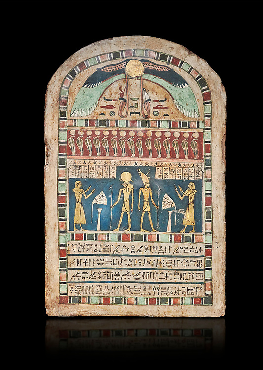 Ancient Egyptian stele dedicated to Ra-Harakhty & Atum by Psetjerfi, Late Period 26th Dynasty, (590-525 BC), Cat 1568. Egyptian Museum, Turin. black background,<br /> <br /> Gifted by the Cairo Museum .<br /> <br /> If you prefer to buy from our ALAMY PHOTO LIBRARY  Collection visit : https://www.alamy.com/portfolio/paul-williams-funkystock/ancient-egyptian-art-artefacts.html  . Type -   Turin   - into the LOWER SEARCH WITHIN GALLERY box. Refine search by adding background colour, subject etc<br /> <br /> Visit our ANCIENT WORLD PHOTO COLLECTIONS for more photos to download or buy as wall art prints https://funkystock.photoshelter.com/gallery-collection/Ancient-World-Art-Antiquities-Historic-Sites-Pictures-Images-of/C00006u26yqSkDOM