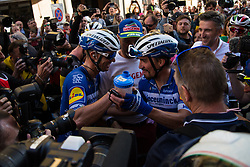 March 24, 2019 - Sanremo, Sanremo, Italy - Julian Alaphilippe of France and Team Deceuninck, Zdenek Stybar of Czech Republic and Team Deceuninck  are seen Celebrating during the 110th edition of Milan - Sanremo, cycling race. (Credit Image: © Puletto  Diego/SOPA Images via ZUMA Wire)