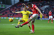 Morgan Fox of Charlton Athletic  kicks the ball clear. Skybet football league championship match, Charlton Athletic v Nottingham Forest at The Valley  in London on Saturday 2nd January 2016.<br /> pic by John Patrick Fletcher, Andrew Orchard sports photography.
