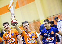 Matija Plesko of ACH celebrates after winning during volleyball match between ACH Volley   and Salonit Anhovo in Final of Slovenian Cup 2014/15, on January 17, 2015 in Sempeter, Slovenia. Photo by Vid Ponikvar / Sportida