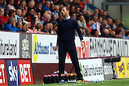 Birmingham City Manager Gary Rowett reacts to a missed chance. Skybet football league championship match, Burnley  v Birmingham City at Turf Moor in Burnley, Lancs on Saturday 15th August 2015.<br /> pic by Chris Stading, Andrew Orchard sports photography.