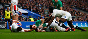 Robbie Henshaw of Ireland  goes over during the Guinness Six Nations between England and Ireland at Twickenham  Stadium, Sunday, Feb. 23, 2020, in London, United Kingdom. (ESPA-Images/Image of Sport)