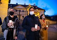 Bialystok, 17.05.2020. Protest pod bialostocka kuria archidiecezjalna pod haslem DOSC ZABAWY W CHOWANEGO, przez co dzialacze Lewicy chca okazac solidarnosc z ofiarami ksiezy pedofili N/z Pawel Krutul ( C ) posel Lewicy fot Michal Kosc / AGENCJA WSCHOD