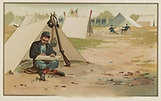 Union soldier making a drawing while sitting in front of tent at army camp by Reed, Charles Wellington, 1841-1926, artist; Harlow, Louis K. (Louis Kinney), 1850-1913, artist